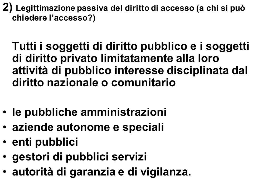 2) Legittimazione passiva del diritto di accesso (a chi si può chiedere laccesso?) Tutti i soggetti di diritto pubblico e i soggetti di diritto privat