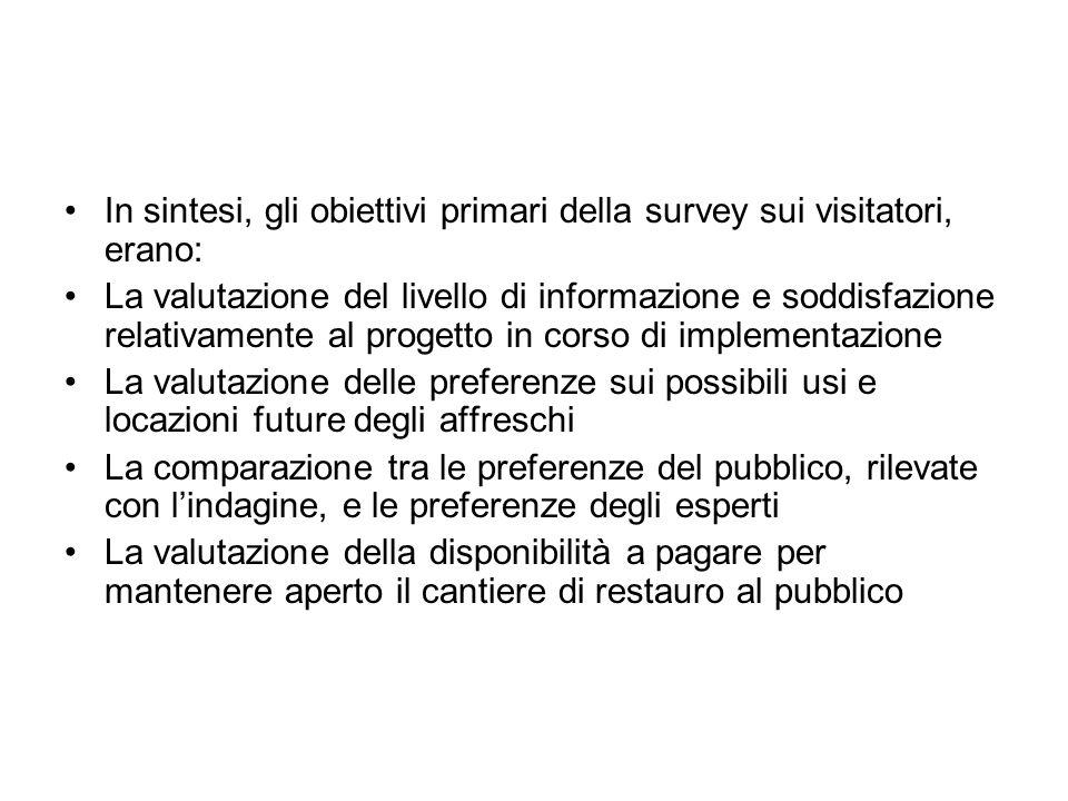 In sintesi, gli obiettivi primari della survey sui visitatori, erano: La valutazione del livello di informazione e soddisfazione relativamente al prog
