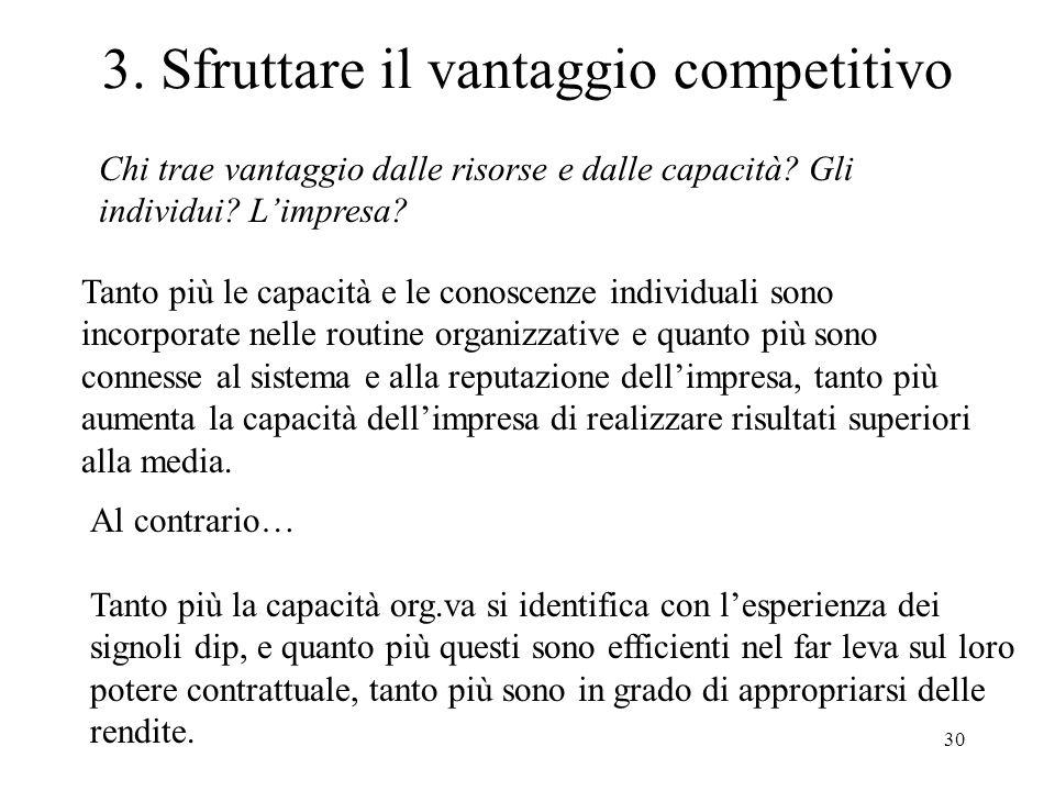 30 3. Sfruttare il vantaggio competitivo Chi trae vantaggio dalle risorse e dalle capacità? Gli individui? Limpresa? Tanto più le capacità e le conosc