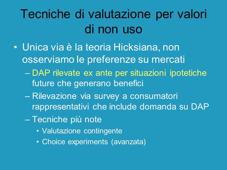 Tecniche di valutazione per valori di non uso Unica via è la teoria Hicksiana, non osserviamo le preferenze su mercati –DAP rilevate ex ante per situa