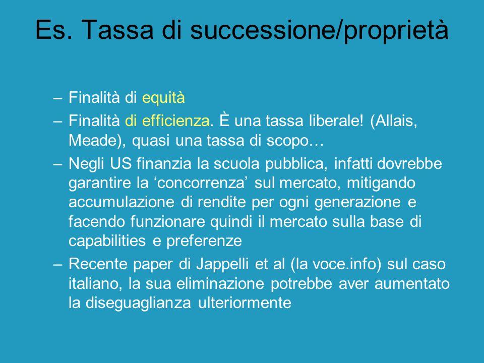 Es. Tassa di successione/proprietà –Finalità di equità –Finalità di efficienza. È una tassa liberale! (Allais, Meade), quasi una tassa di scopo… –Negl