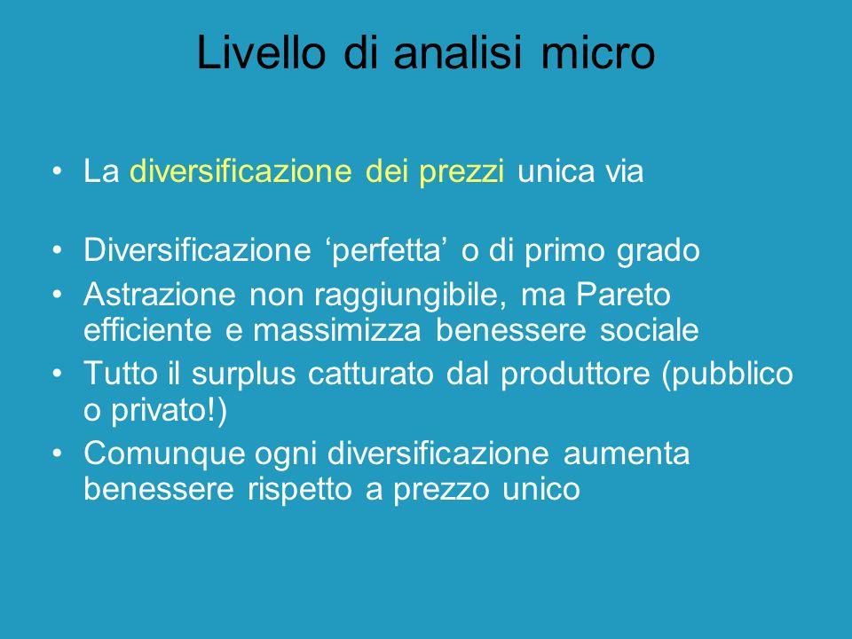 Livello di analisi micro La diversificazione dei prezzi unica via Diversificazione perfetta o di primo grado Astrazione non raggiungibile, ma Pareto e