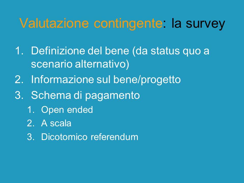 Valutazione contingente: la survey 1.Definizione del bene (da status quo a scenario alternativo) 2.Informazione sul bene/progetto 3.Schema di pagament