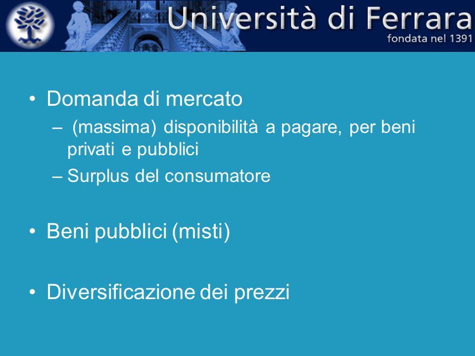 Domanda di mercato – (massima) disponibilità a pagare, per beni privati e pubblici –Surplus del consumatore Beni pubblici (misti) Diversificazione dei