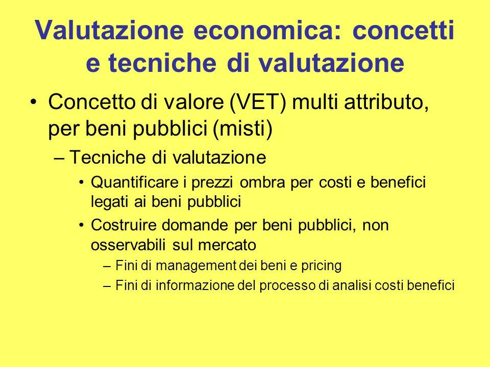 Valutazione economica: concetti e tecniche di valutazione Concetto di valore (VET) multi attributo, per beni pubblici (misti) –Tecniche di valutazione