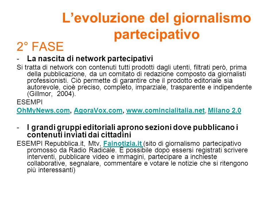 Levoluzione del giornalismo partecipativo 2° FASE -La nascita di network partecipativi Si tratta di network con contenuti tutti prodotti dagli utenti,