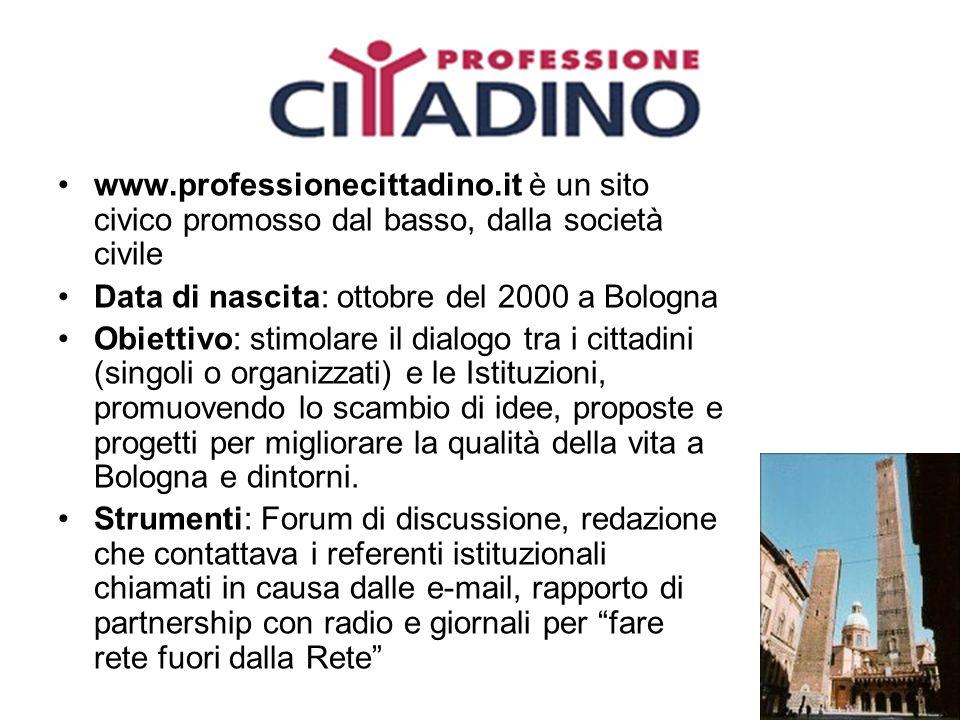 www.professionecittadino.it è un sito civico promosso dal basso, dalla società civile Data di nascita: ottobre del 2000 a Bologna Obiettivo: stimolare