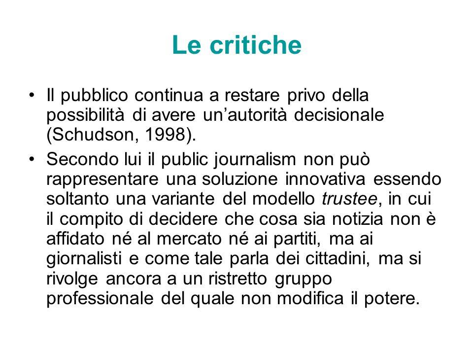 Le critiche Il pubblico continua a restare privo della possibilità di avere unautorità decisionale (Schudson, 1998). Secondo lui il public journalism
