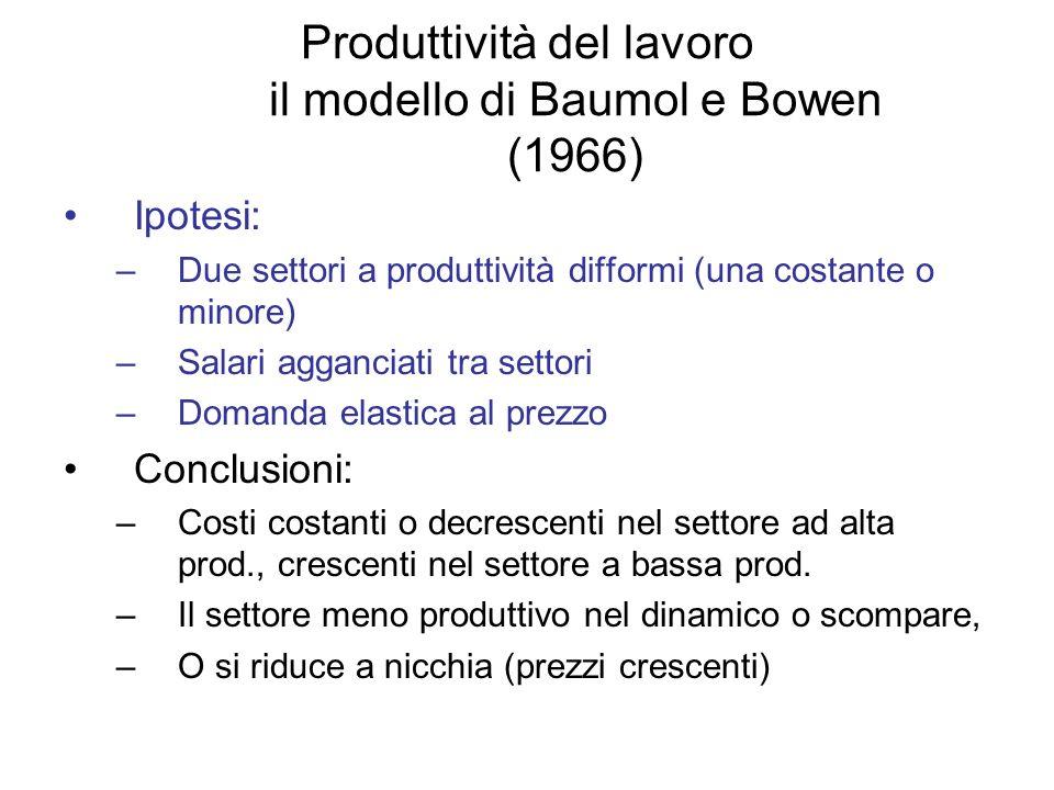 Produttività del lavoro il modello di Baumol e Bowen (1966) Ipotesi: –Due settori a produttività difformi (una costante o minore) –Salari agganciati t
