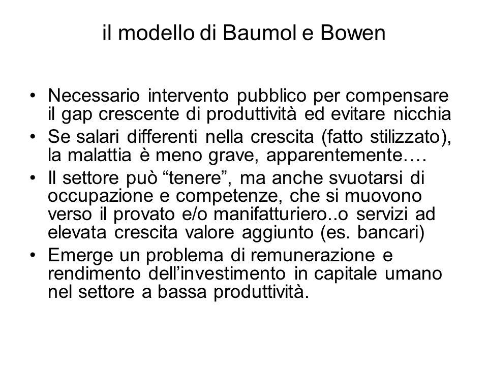 il modello di Baumol e Bowen Necessario intervento pubblico per compensare il gap crescente di produttività ed evitare nicchia Se salari differenti ne