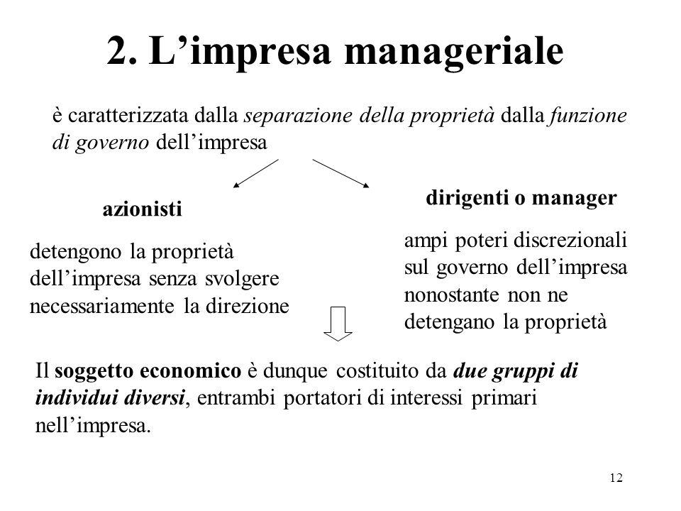 12 2. Limpresa manageriale è caratterizzata dalla separazione della proprietà dalla funzione di governo dellimpresa azionisti detengono la proprietà d