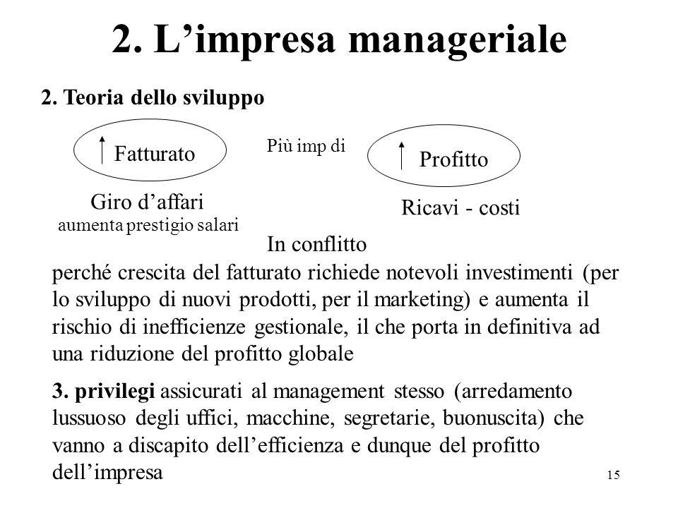 15 2. Teoria dello sviluppo 2. Limpresa manageriale Fatturato Più imp di Profitto aumenta prestigio salari perché crescita del fatturato richiede note