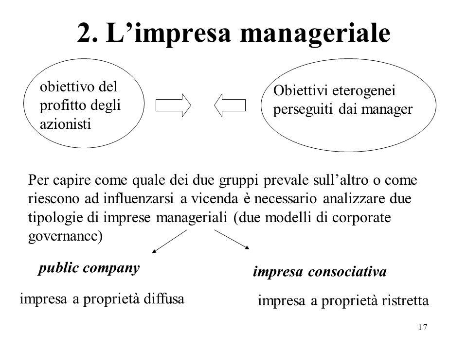 17 2. Limpresa manageriale obiettivo del profitto degli azionisti Obiettivi eterogenei perseguiti dai manager Per capire come quale dei due gruppi pre