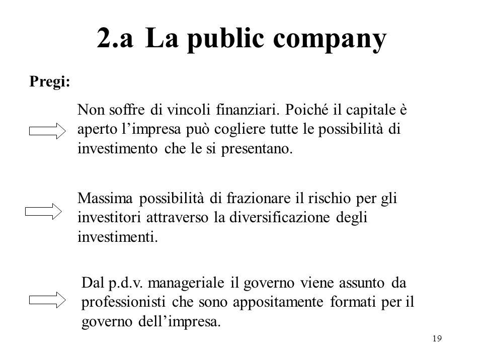 19 2.aLa public company Non soffre di vincoli finanziari. Poiché il capitale è aperto limpresa può cogliere tutte le possibilità di investimento che l