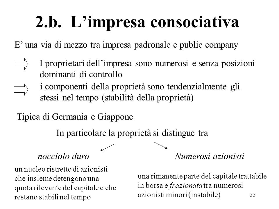 22 2.b. Limpresa consociativa I proprietari dellimpresa sono numerosi e senza posizioni dominanti di controllo i componenti della proprietà sono tende