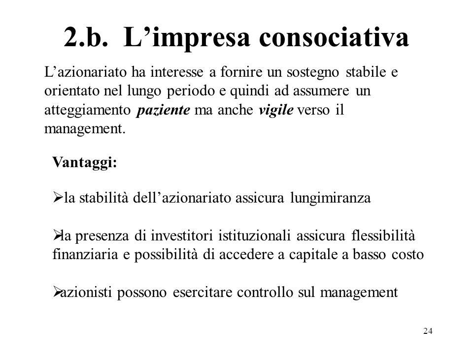 24 2.b. Limpresa consociativa Vantaggi: la stabilità dellazionariato assicura lungimiranza la presenza di investitori istituzionali assicura flessibil