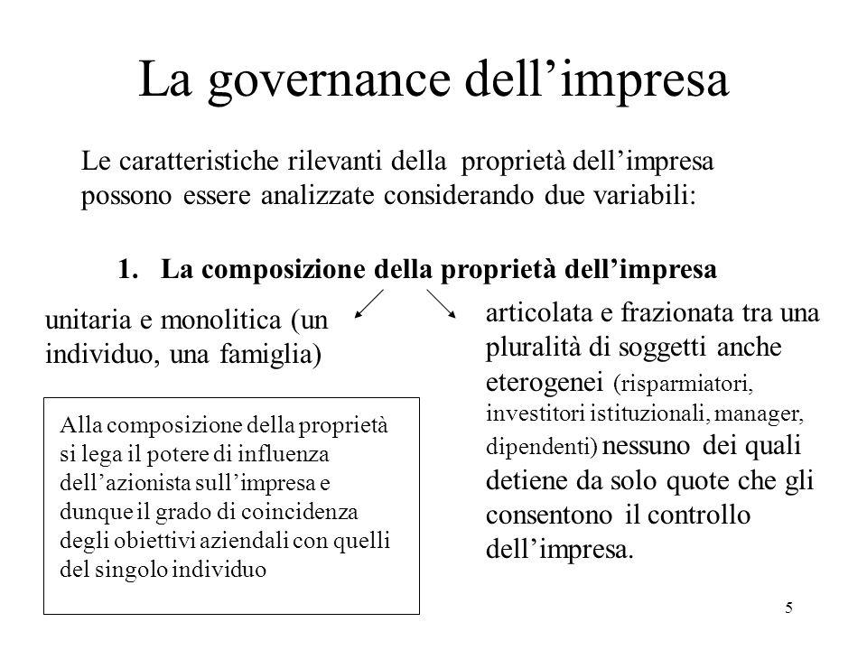 5 La governance dellimpresa Le caratteristiche rilevanti della proprietà dellimpresa possono essere analizzate considerando due variabili: 1. La compo
