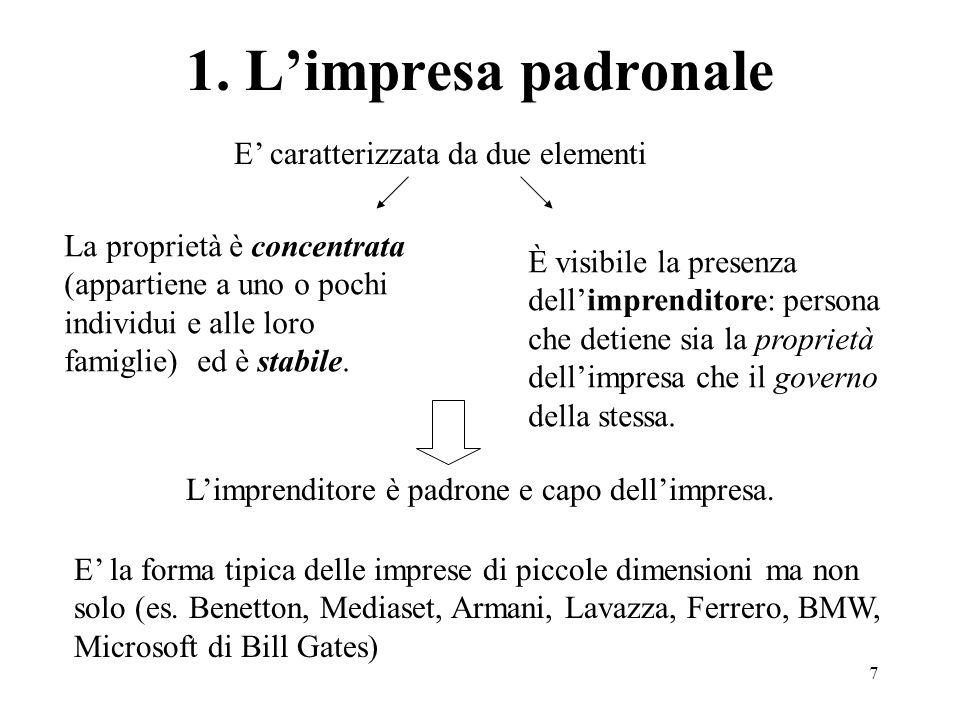 7 1. Limpresa padronale E caratterizzata da due elementi La proprietà è concentrata (appartiene a uno o pochi individui e alle loro famiglie) ed è sta