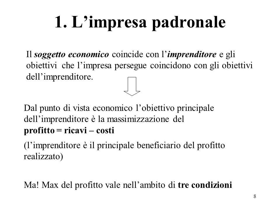 8 1. Limpresa padronale Dal punto di vista economico lobiettivo principale dellimprenditore è la massimizzazione del profitto = ricavi – costi Il sogg
