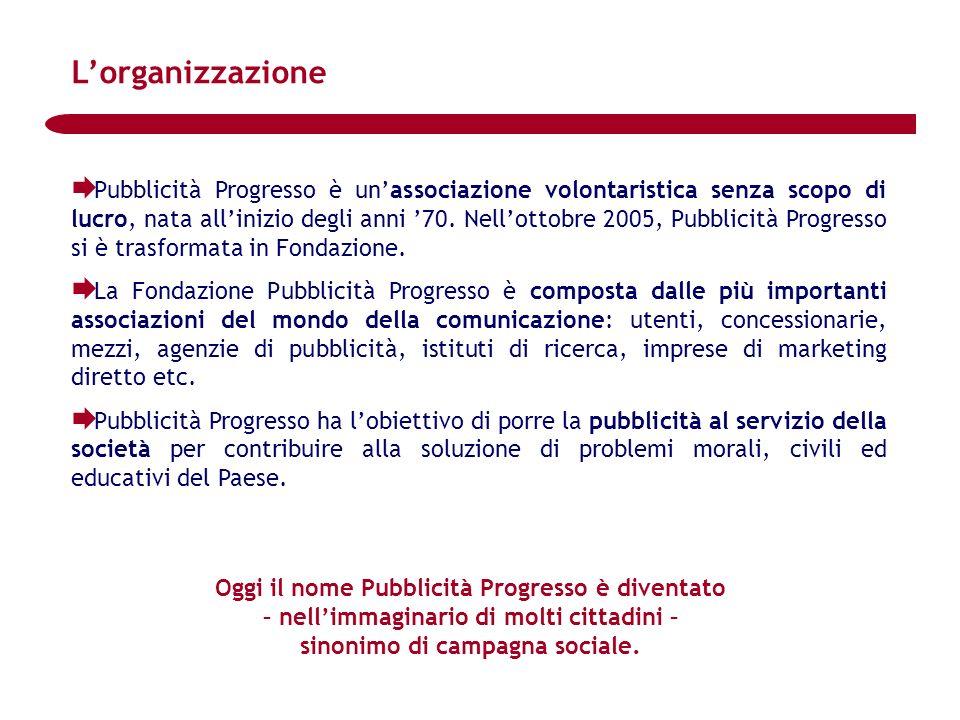 Pubblicità Progresso è unassociazione volontaristica senza scopo di lucro, nata allinizio degli anni 70. Nellottobre 2005, Pubblicità Progresso si è t