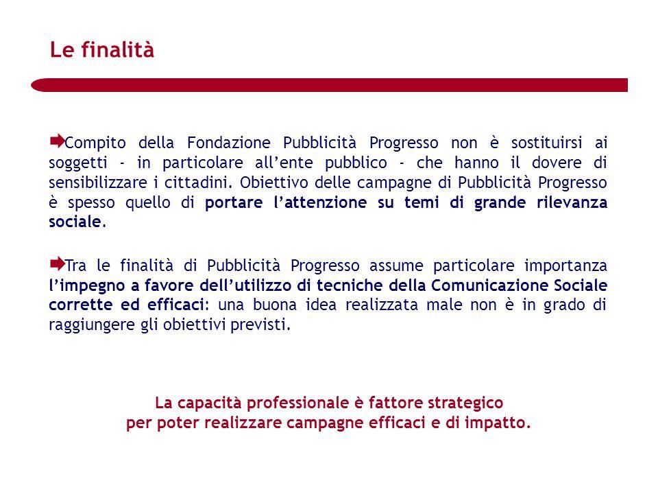 Compito della Fondazione Pubblicità Progresso non è sostituirsi ai soggetti - in particolare allente pubblico - che hanno il dovere di sensibilizzare