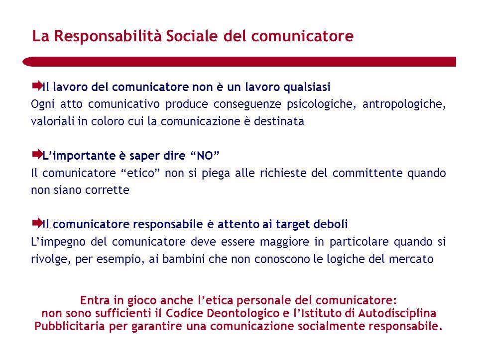 Il lavoro del comunicatore non è un lavoro qualsiasi Ogni atto comunicativo produce conseguenze psicologiche, antropologiche, valoriali in coloro cui