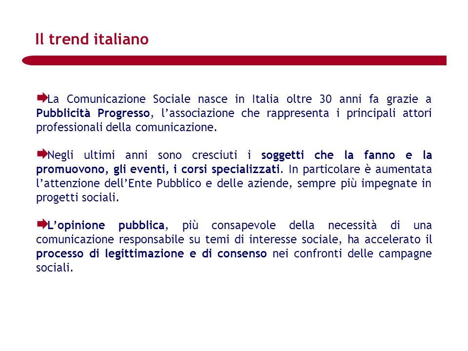 La Comunicazione Sociale nasce in Italia oltre 30 anni fa grazie a Pubblicità Progresso, lassociazione che rappresenta i principali attori professiona