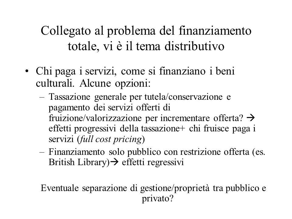 Collegato al problema del finanziamento totale, vi è il tema distributivo Chi paga i servizi, come si finanziano i beni culturali.