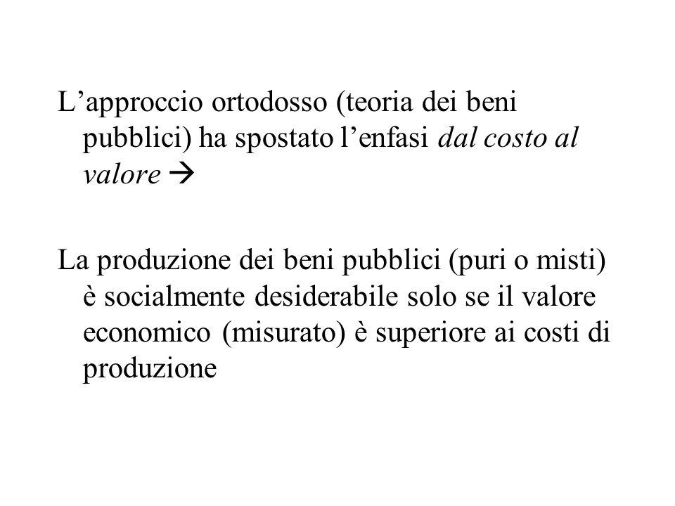 Lapproccio ortodosso (teoria dei beni pubblici) ha spostato lenfasi dal costo al valore La produzione dei beni pubblici (puri o misti) è socialmente desiderabile solo se il valore economico (misurato) è superiore ai costi di produzione