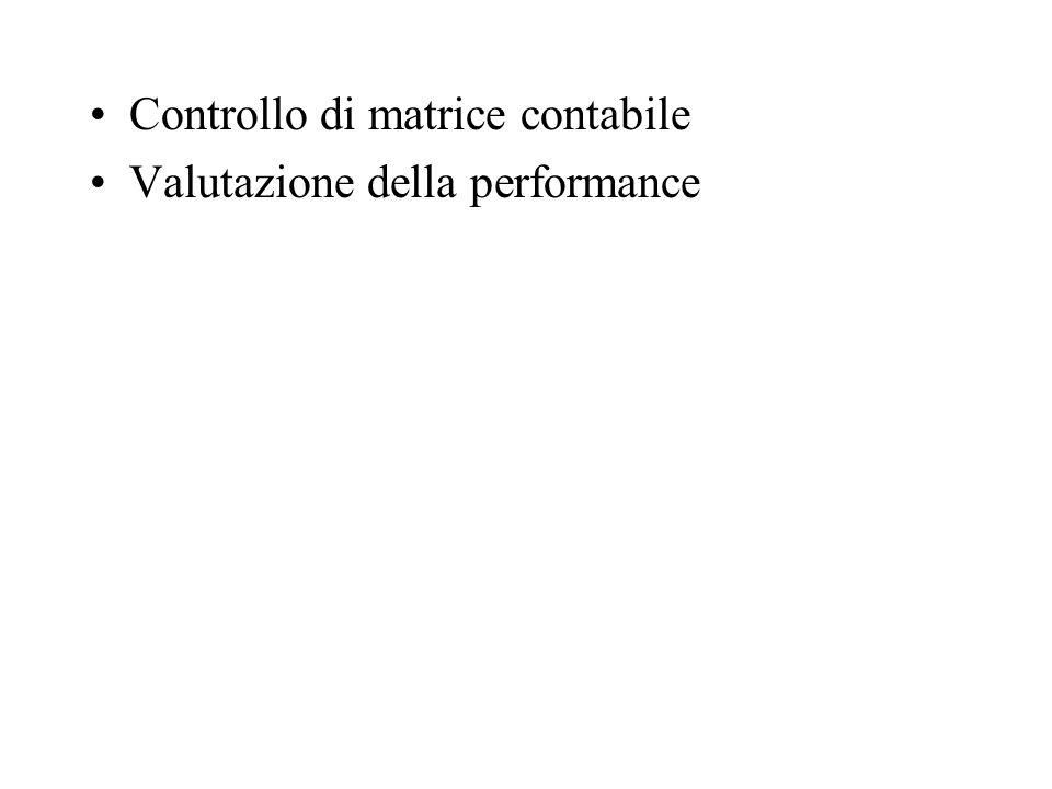 Controllo di matrice contabile Valutazione della performance