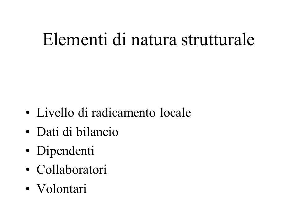 Elementi di natura strutturale Livello di radicamento locale Dati di bilancio Dipendenti Collaboratori Volontari