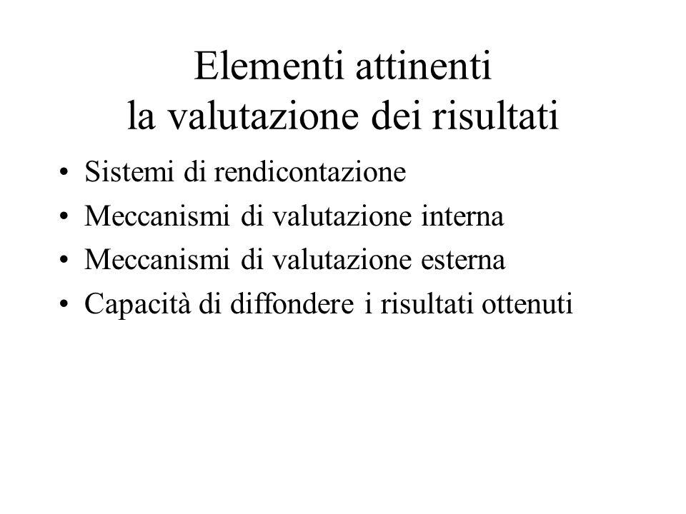 Elementi attinenti la valutazione dei risultati Sistemi di rendicontazione Meccanismi di valutazione interna Meccanismi di valutazione esterna Capacità di diffondere i risultati ottenuti