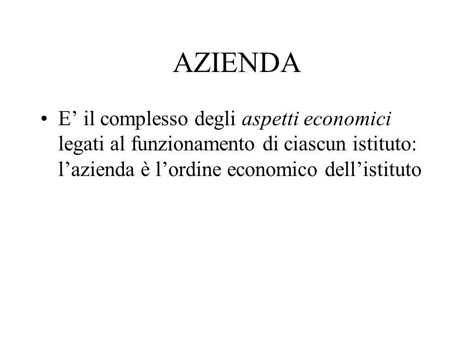 AZIENDA E il complesso degli aspetti economici legati al funzionamento di ciascun istituto: lazienda è lordine economico dellistituto