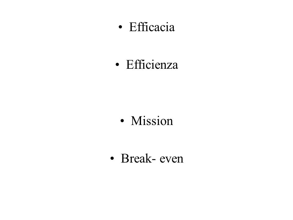 Efficacia Efficienza Mission Break- even