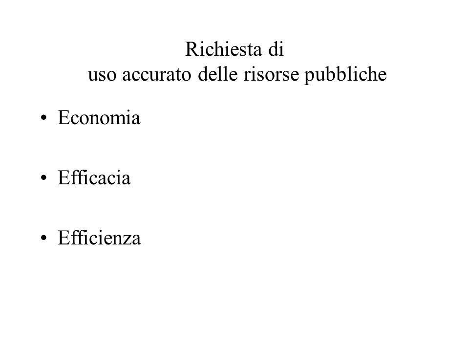 Richiesta di uso accurato delle risorse pubbliche Economia Efficacia Efficienza