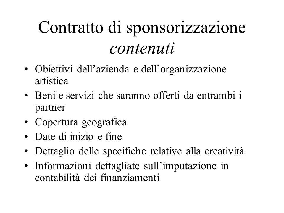Contratto di sponsorizzazione contenuti Obiettivi dellazienda e dellorganizzazione artistica Beni e servizi che saranno offerti da entrambi i partner