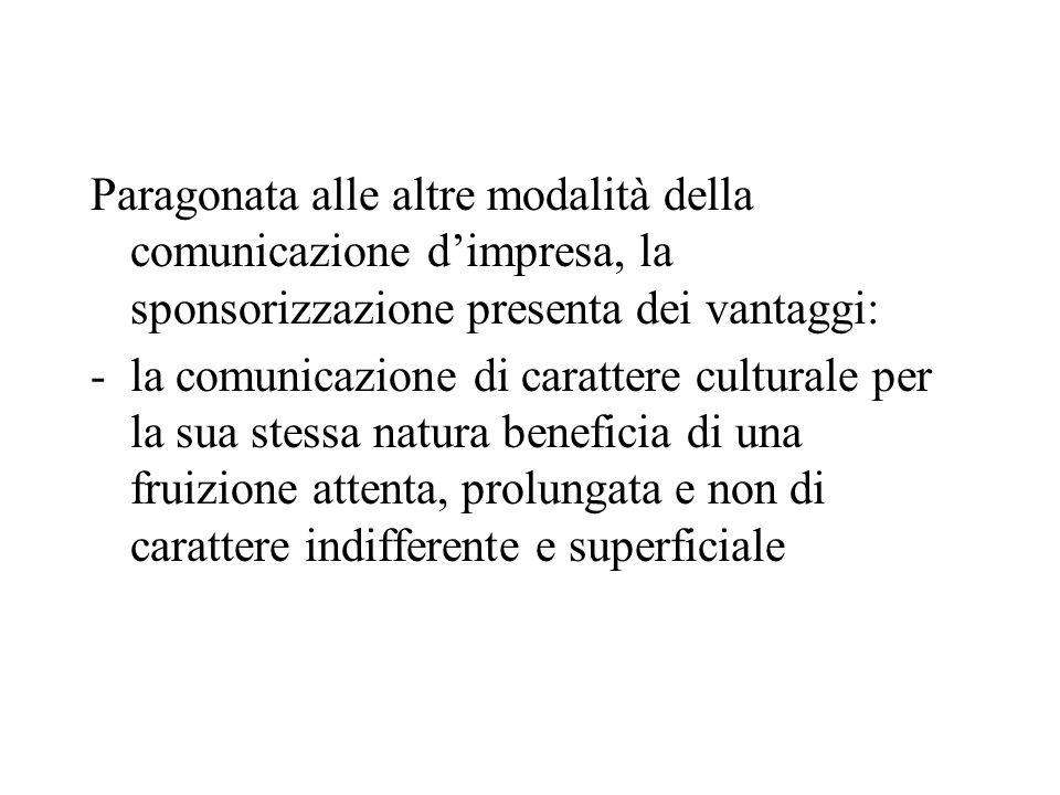 Paragonata alle altre modalità della comunicazione dimpresa, la sponsorizzazione presenta dei vantaggi: -la comunicazione di carattere culturale per l