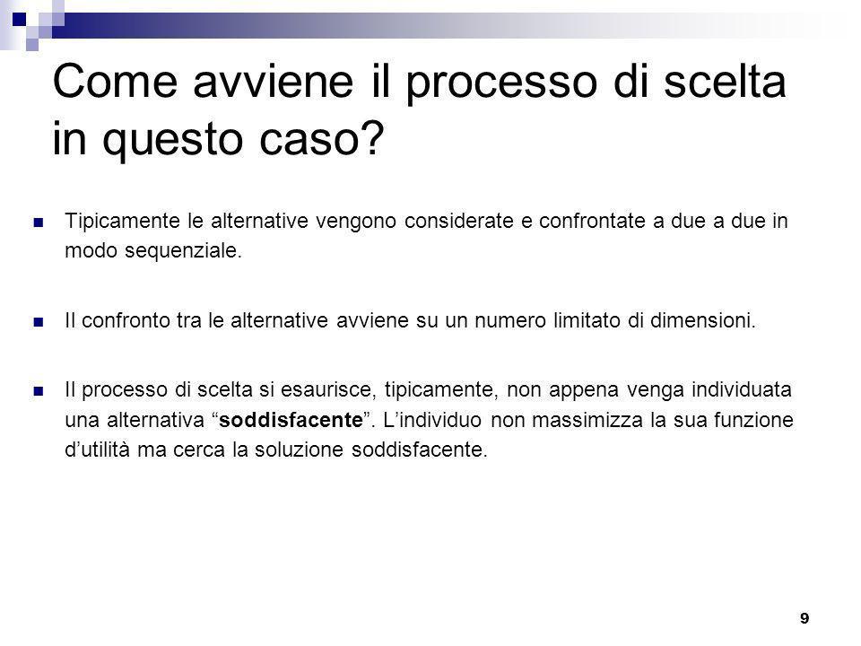 9 Come avviene il processo di scelta in questo caso? Tipicamente le alternative vengono considerate e confrontate a due a due in modo sequenziale. Il