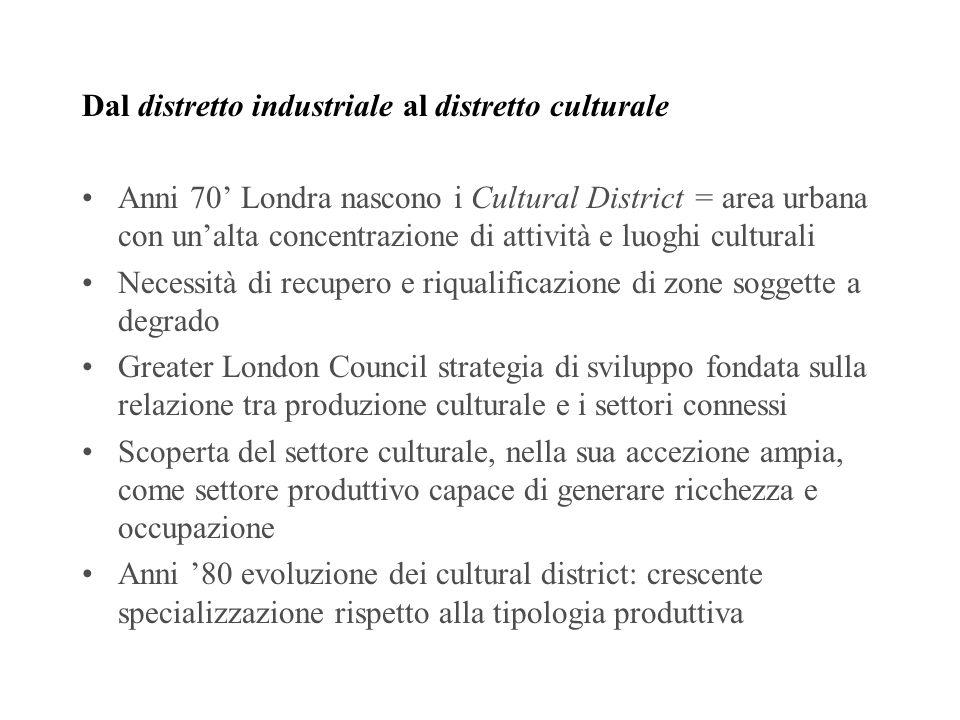 Distretto culturale evoluto Complementarietà strategiche tra filiere culturali differenti appartenenti a settori produttivi diversi La produzione e la fruizione culturale non vengono intese tanto come centri di profitto, quanto piuttosto come elementi di una catena del valore complessa