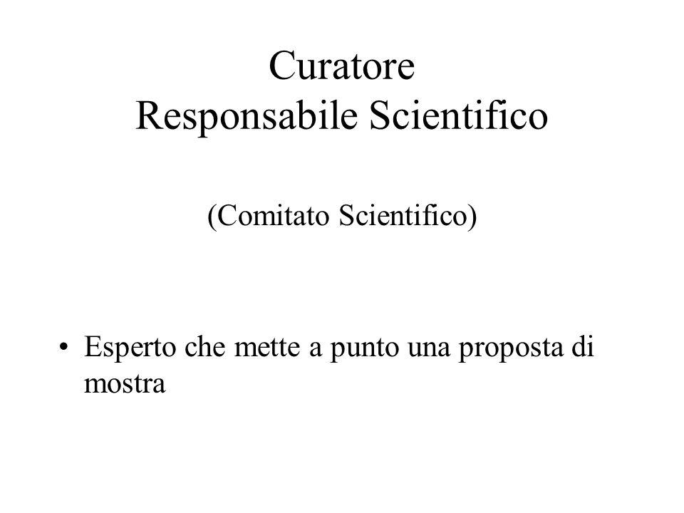 Curatore Responsabile Scientifico (Comitato Scientifico) Esperto che mette a punto una proposta di mostra