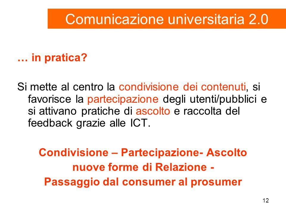 12 … in pratica? Si mette al centro la condivisione dei contenuti, si favorisce la partecipazione degli utenti/pubblici e si attivano pratiche di asco
