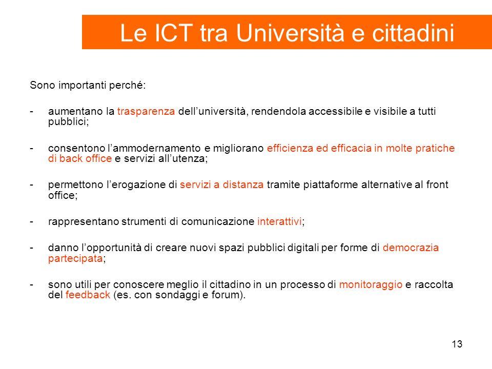 13 Sono importanti perché: -aumentano la trasparenza delluniversità, rendendola accessibile e visibile a tutti pubblici; -consentono lammodernamento e