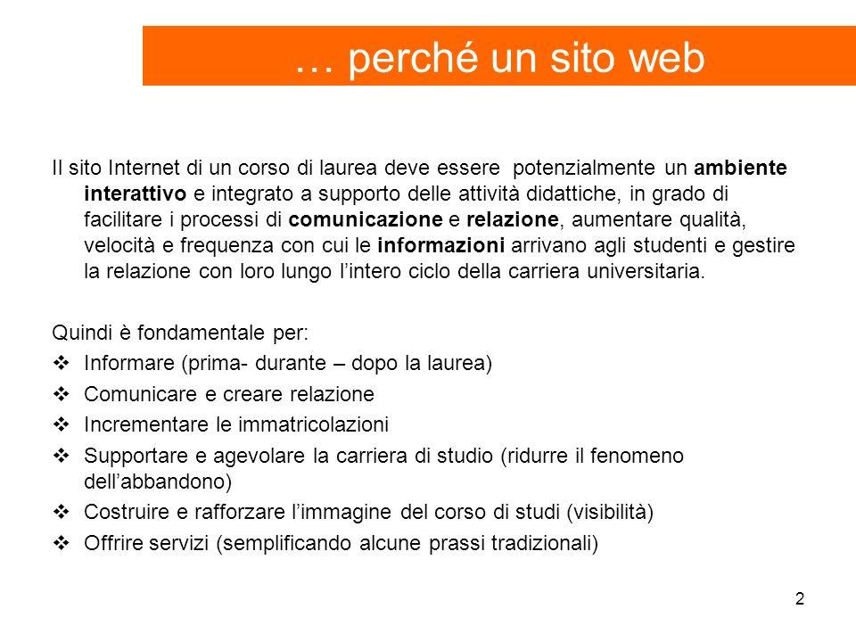2 … perché un sito web Il sito Internet di un corso di laurea deve essere potenzialmente un ambiente interattivo e integrato a supporto delle attività