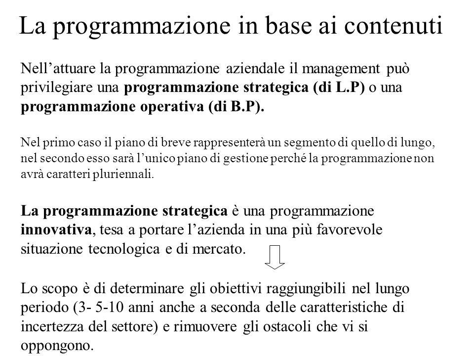 La programmazione in base ai contenuti Nellattuare la programmazione aziendale il management può privilegiare una programmazione strategica (di L.P) o