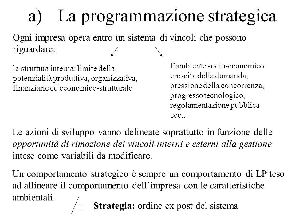 a)La programmazione strategica Ogni impresa opera entro un sistema di vincoli che possono riguardare: la struttura interna: limite della potenzialità