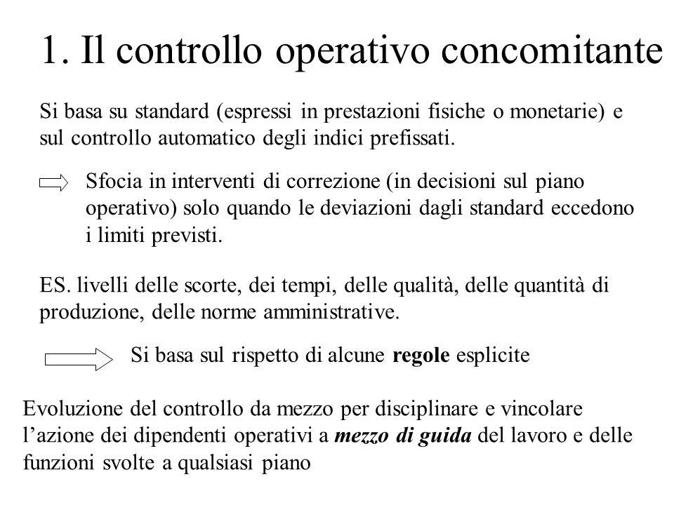 1. Il controllo operativo concomitante Si basa su standard (espressi in prestazioni fisiche o monetarie) e sul controllo automatico degli indici prefi