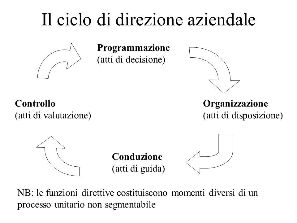 Il ciclo di direzione aziendale Programmazione (atti di decisione) Organizzazione (atti di disposizione) Conduzione (atti di guida) Controllo (atti di