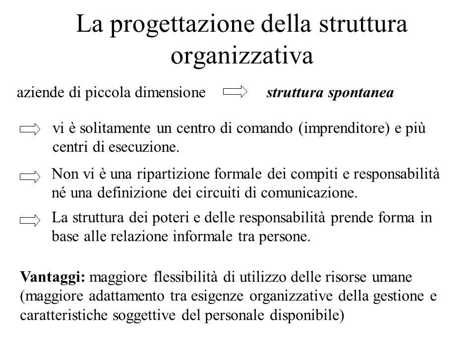 La progettazione della struttura organizzativa aziende di piccola dimensionestruttura spontanea vi è solitamente un centro di comando (imprenditore) e
