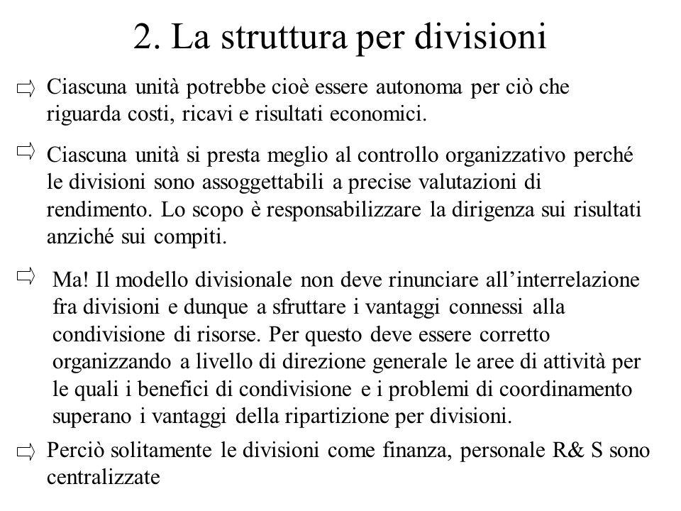 2. La struttura per divisioni Ciascuna unità potrebbe cioè essere autonoma per ciò che riguarda costi, ricavi e risultati economici. Ciascuna unità si