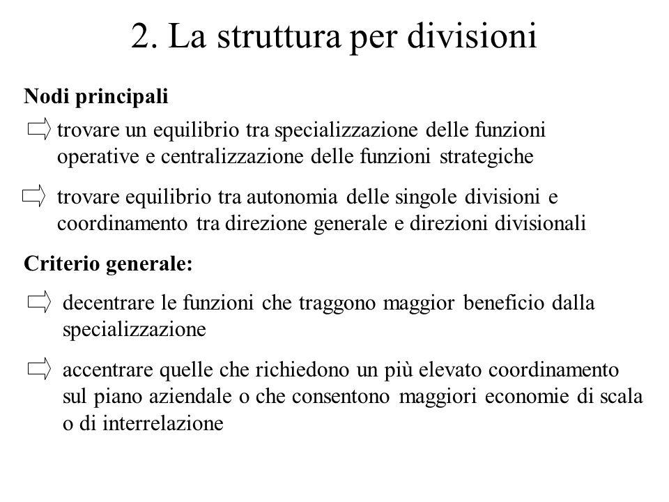 2. La struttura per divisioni Criterio generale: decentrare le funzioni che traggono maggior beneficio dalla specializzazione accentrare quelle che ri
